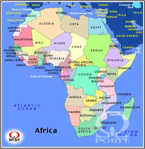 白地図 アフリカ大陸 白地図 : アフリカ地図(英語) Map of ...