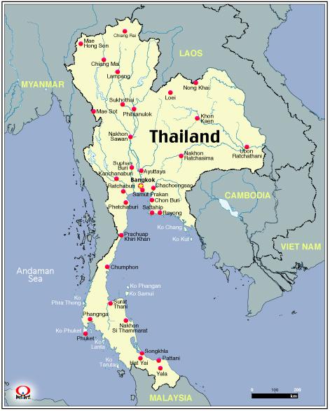Thailand Asia Map