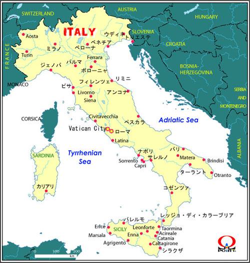 Italy Map : 日本 白地図 フリー : 日本