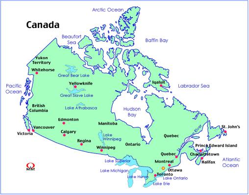 カナダ地図(日本語・英語 ... : 世界の国々 地図 : すべての講義