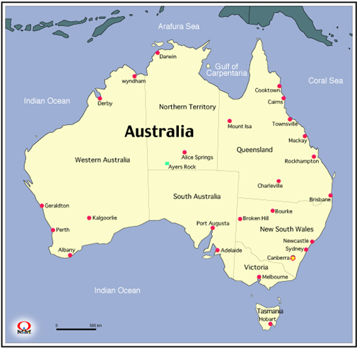 オーストラリア地図 map of australia